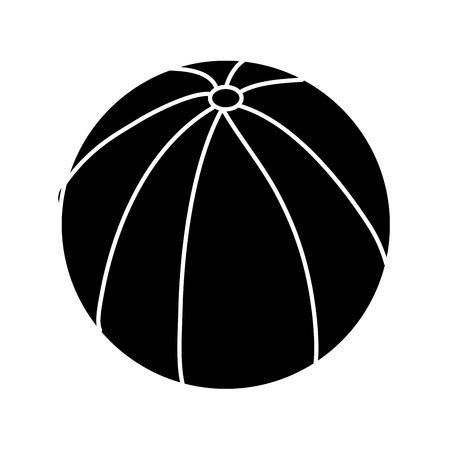 beach ball rubber toy play image vector illustration black and white design