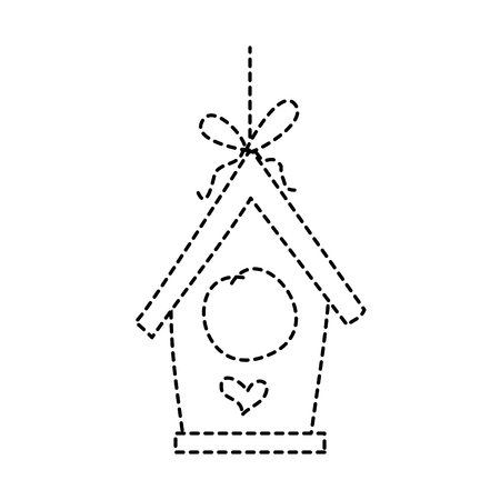 wooden bird house hanging of a rope vector illustration dotted line design Çizim
