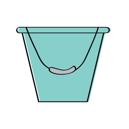 bucket container metal tool equipment vector illustration