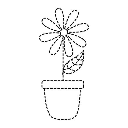 potted daisy flower petal leaves decoration vector illustration dotted line design Illustration