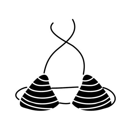 female swimsuit female bra isolated icon vector illustration black and white design