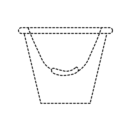 bucket container metal tool equipment vector illustration dotted line design