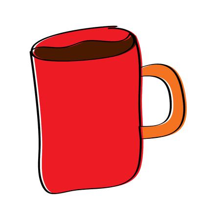 cartoon coffee mug drink beverage vector illustration  イラスト・ベクター素材
