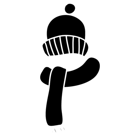 winter hat and scarf warm accessories vector illustration black and white design