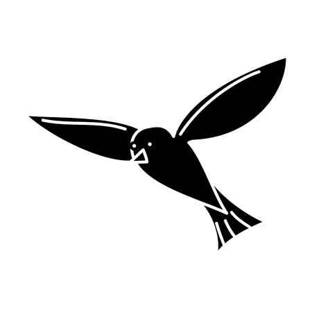 비행 바다 새 갈매기 동물 벡터 일러스트 레이 션 흑백 디자인 일러스트