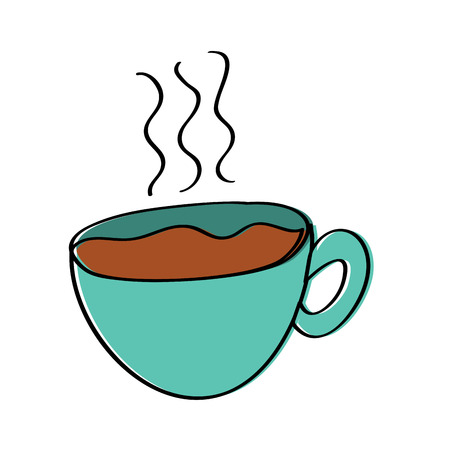 hot coffee cup fresh beverage vector illustration  イラスト・ベクター素材