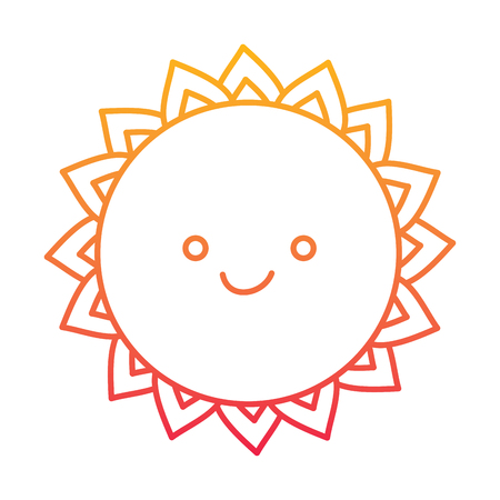 cute cartoon sun character summer style vector illustration degraded line color design