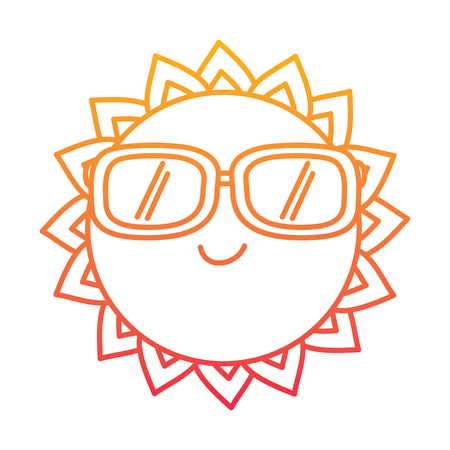 Cartoon sun wearing sunglasses Illustration