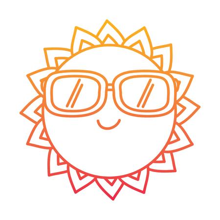 Cartoon sun wearing sunglasses Illustration