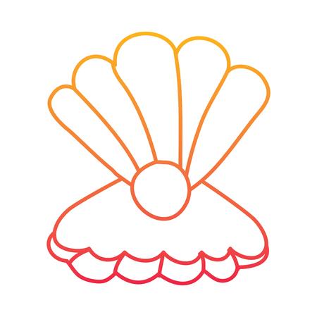 劣化したラインカラーデザインでパール海洋生物イラストを使用したオープンシーシェル。  イラスト・ベクター素材