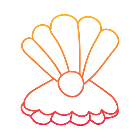 Open seashell with pearl marine life illustration in degraded line color design. Illustration