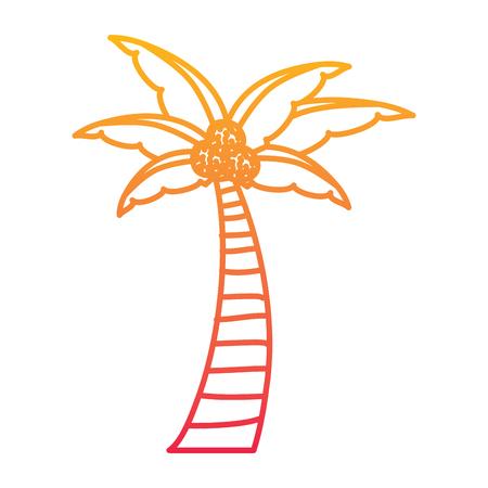 パームココナッツ植物の木のビーチフローラベクトルイラスト劣化ラインカラーデザイン