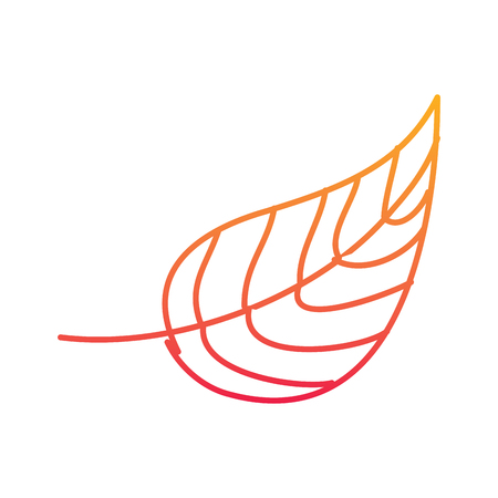 autumn leaf foliage natural icon vector illustration degraded line color design
