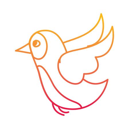 Flying bird wild life natural animal vector illustration degraded line color design.