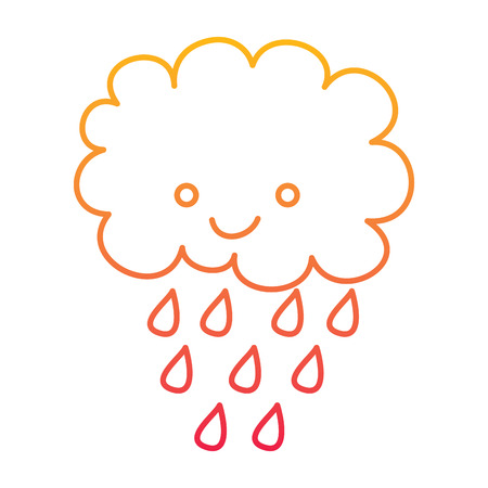 Cute cartoon happy cloud rain drops vector illustration degraded line color design. Illustration