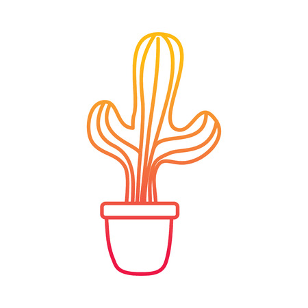 Potted cactus house plant prickly decoration vector illustration degraded line color design. 일러스트