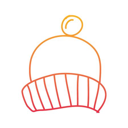 Pomopon 액세서리 벡터 일러스트와 함께 겨울 니트 모자 저하 라인 컬러 디자인