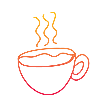 hot coffee cup fresh beverage vector illustration degraded line color design