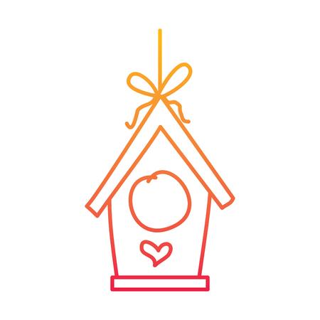 wooden bird house hanging of a rope vector illustration degraded line color design
