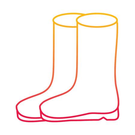 pair rubber boots clothes season fashion vector illustration degraded line color design