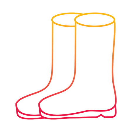 pair rubber boots clothes season fashion vector illustration degraded line color design