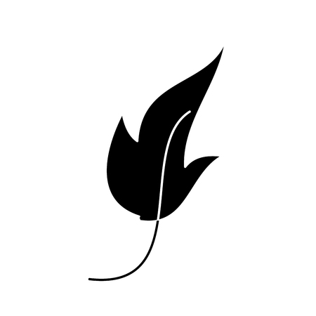 leaf foliage botany frond natural icon vector illustration black and white design Illusztráció