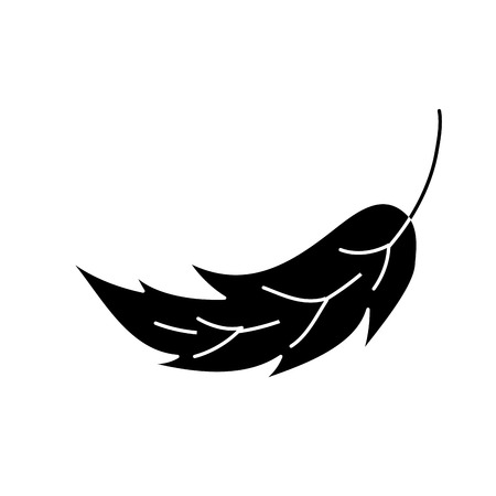 Leaf foliage botany frond natural icon vector illustration in black and white design. Illusztráció