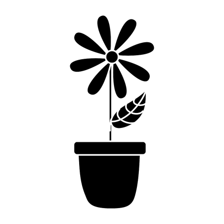 potted daisy flower petal leaves decoration vector illustration black and white design 向量圖像
