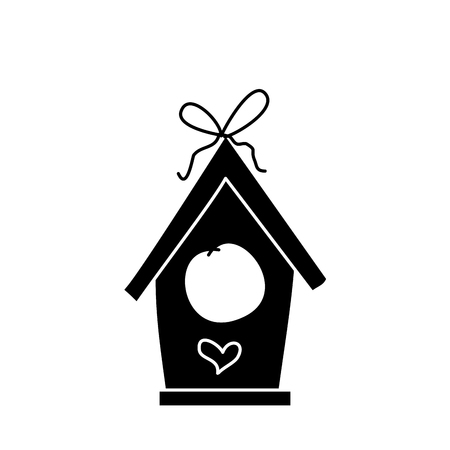 wooden bird house bow heart decoration vector illustration black and white design Ilustracja