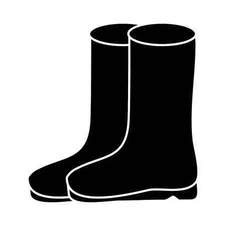 pair rubber boots clothes season fashion vector illustration black and white design