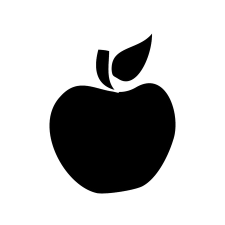 Fruit tasty apple delicious food vector illustration black and white design.