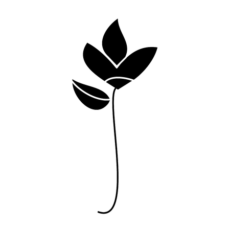 Flower natural botanical stem leaves icon vector illustration in black and white design. Ilustração