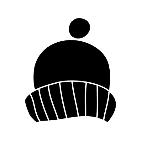 winter knitted hat with pompon accessory vector illustration black and white design