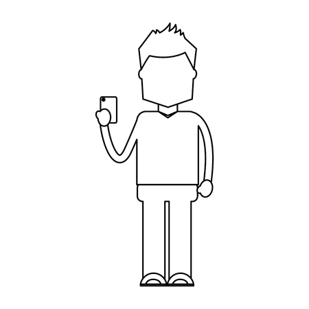 character holding in hand smartphone device vector illustration outline image