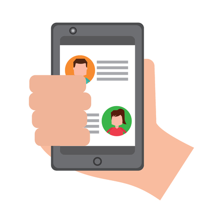 hand holding smartphone chat messages in screen vector illustration