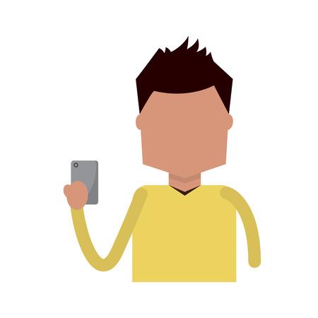 A man holding smartphone device vector illustration Illustration