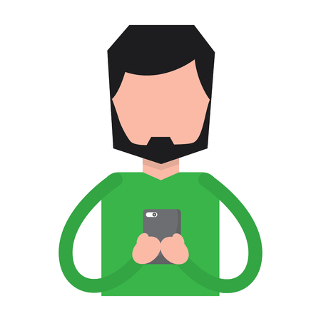 A bearded man using smartphone vector illustration