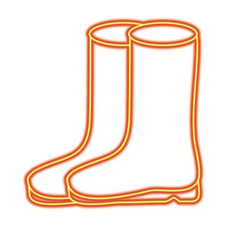 pair rubber boots clothes season fashion vector illustration
