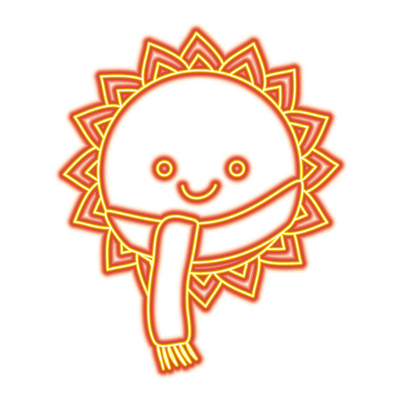 Cute smiling sun cartoon character with scarf vector illustration Stock Illustratie