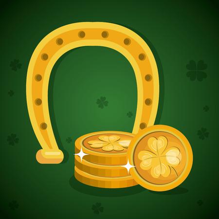 treasure coins saint patrick day vector illustration design Illustration