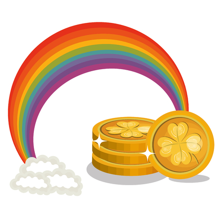 Treasure coins with rainbow for Saint Patrick's day vector illustration Illustration