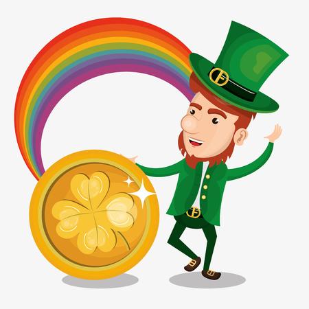 Leprechaun Saint Patrick day character vector illustration design Foto de archivo - 95524923