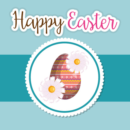 eggs painted happy easter celebration vector illustration design