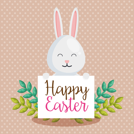 cute rabbit happy easter celebration vector illustration design 向量圖像