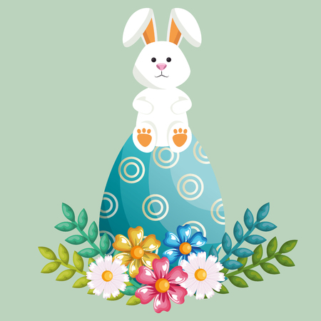 Easter Rabbit with painted eggs vector illustration design.