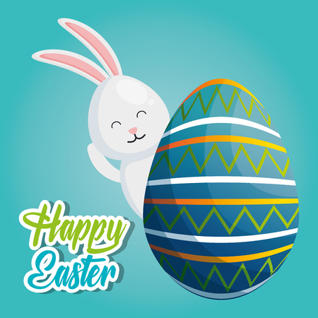 Rabbit with painted eggs easter celebration vector illustration design.