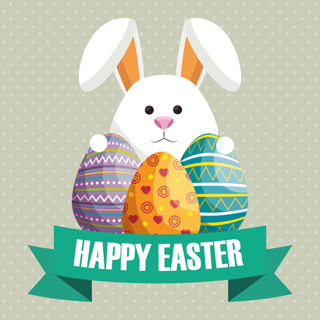 rabbit with eggs painted easter celebration vector illustration design Vectores