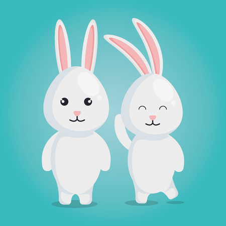 cute rabbits couple characters vector illustration design