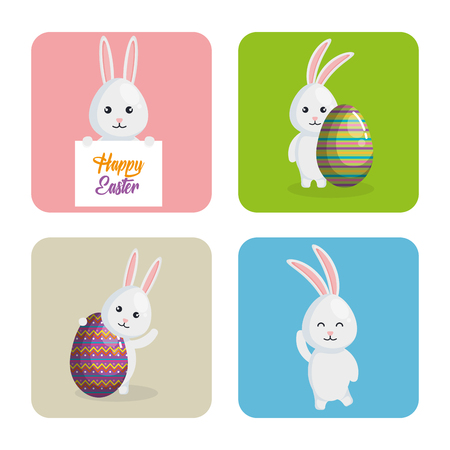Rabbit with eggs painted easter celebration vector illustration design. Illustration