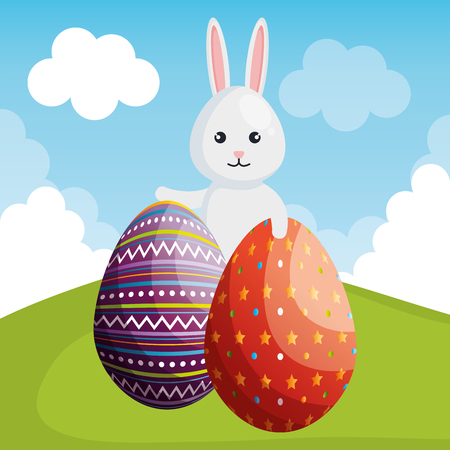 Rabbit with eggs painted for easter celebration vector illustration design. 일러스트
